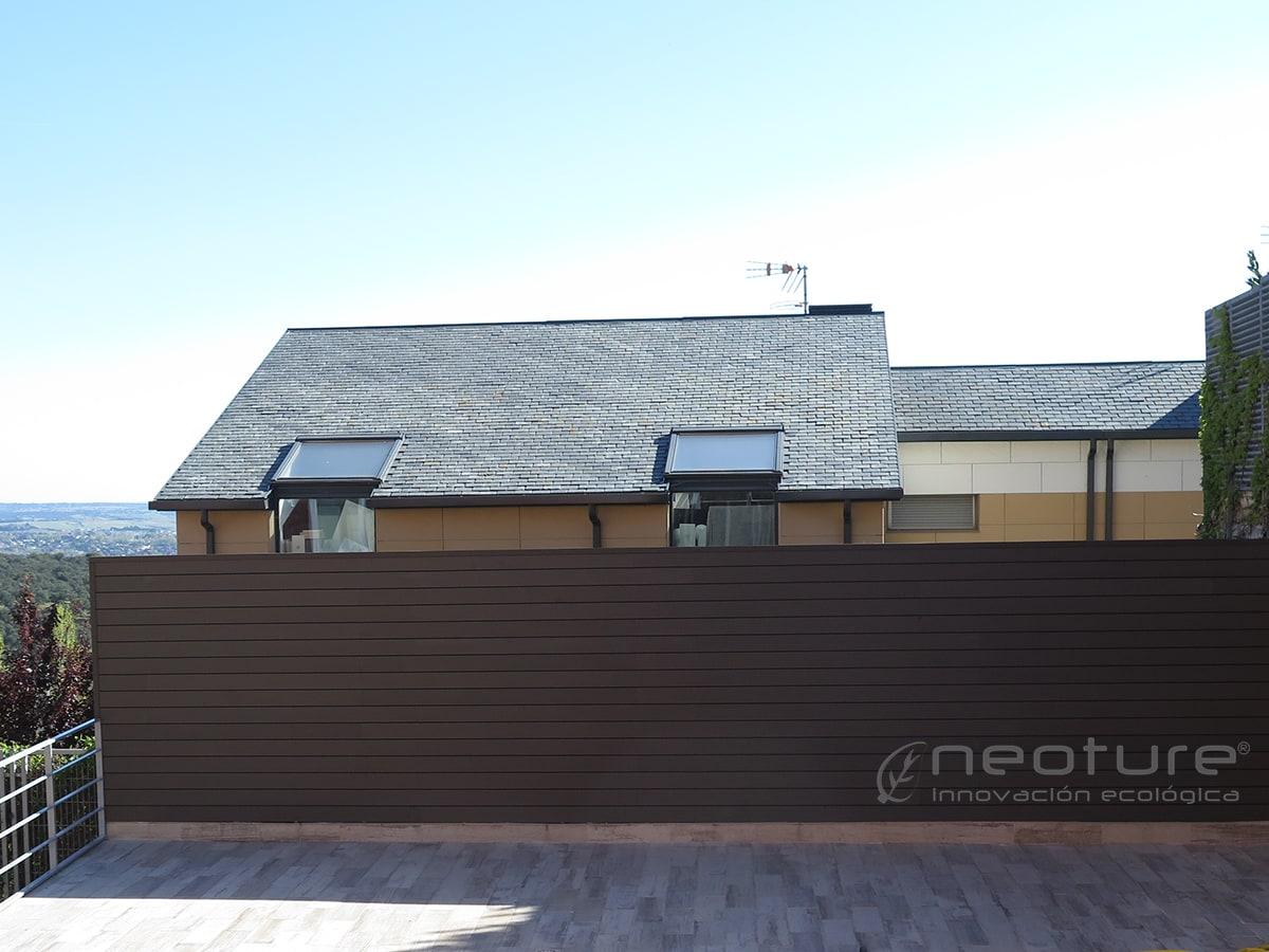 Revestimiento pared exterior con paneles madera sintetica - Paneles de madera para exterior ...