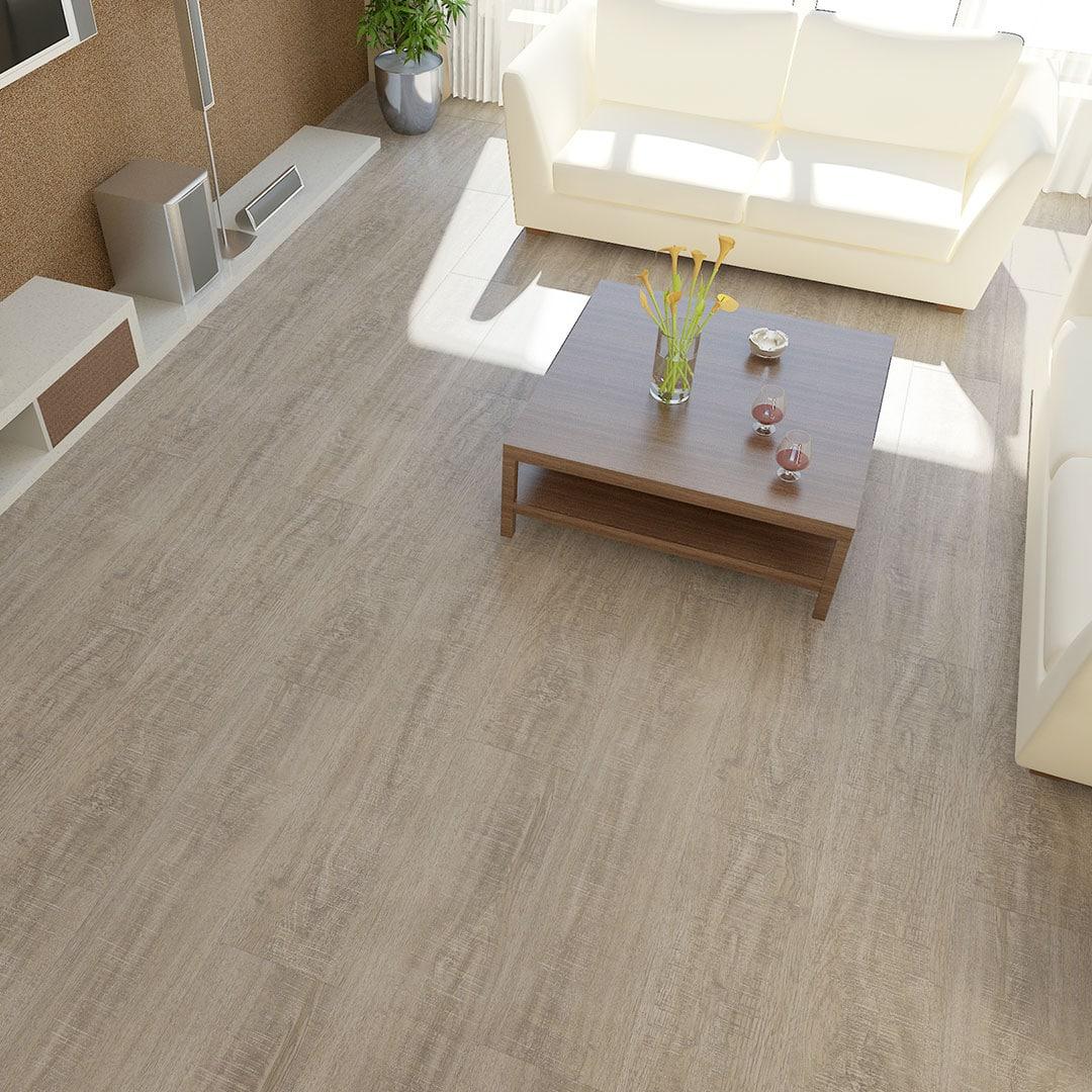 Tarima madera vinilica para interiores sin mantenimiento for Instalacion suelo vinilico click